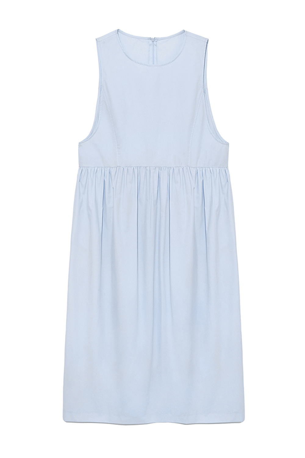 Sleeveless Shirring Dress Women [Sky blue]