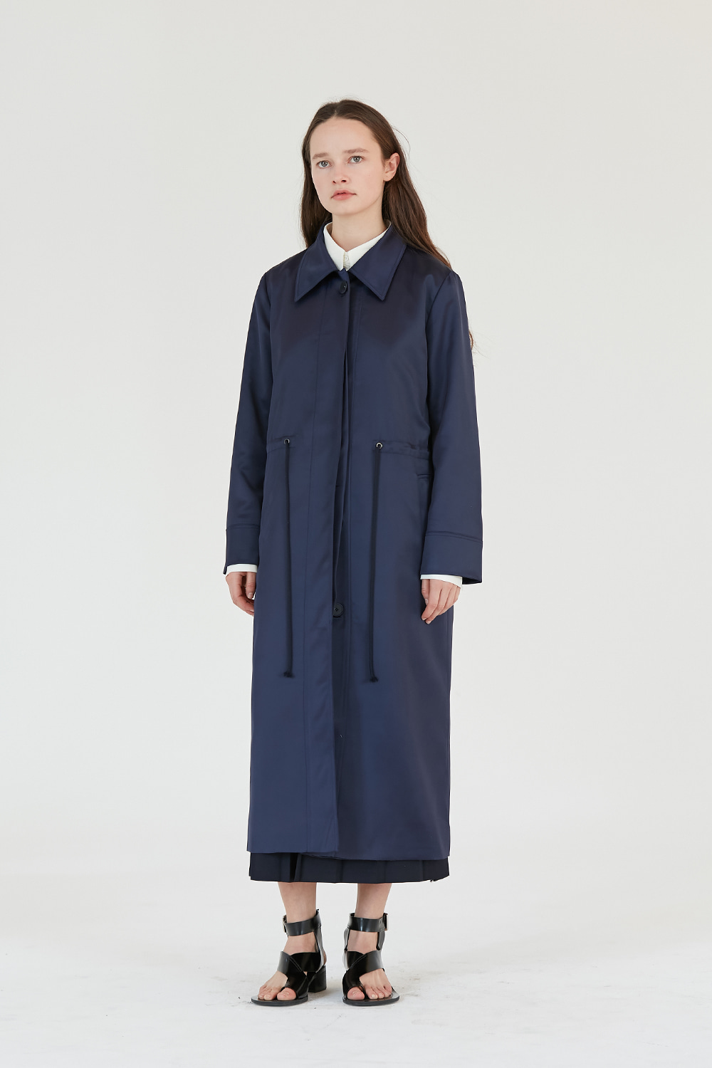 Satin Coat Women [Navy]