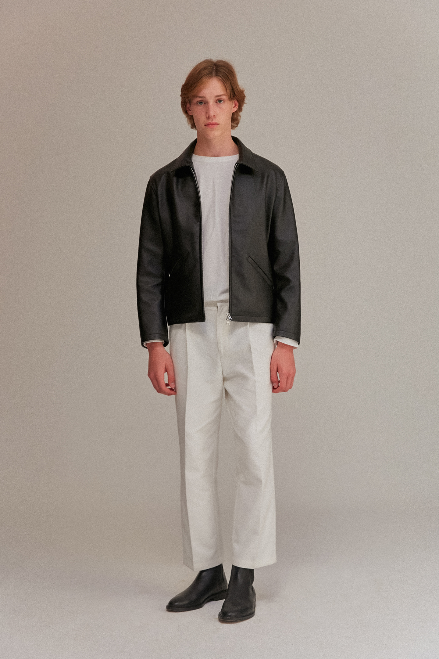 Minimal Leather Jacket Men [Black]
