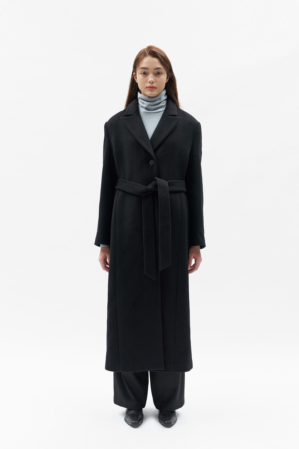 Belted Single Coat Women [Black]