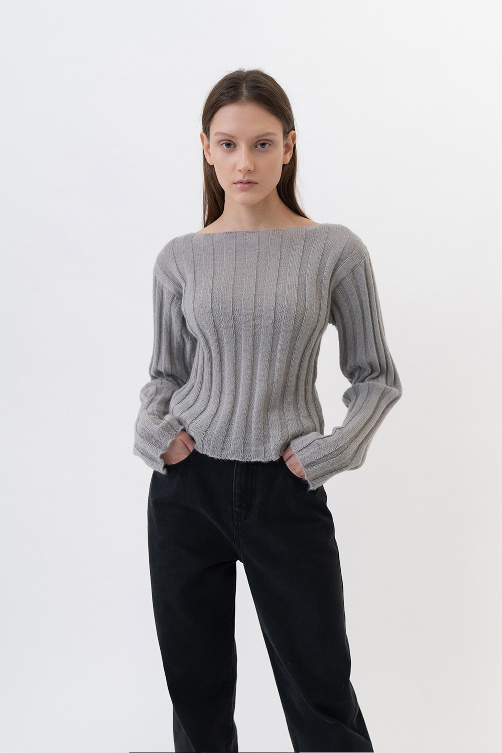 Kid Mohair Fitted Knit Women [Gray]