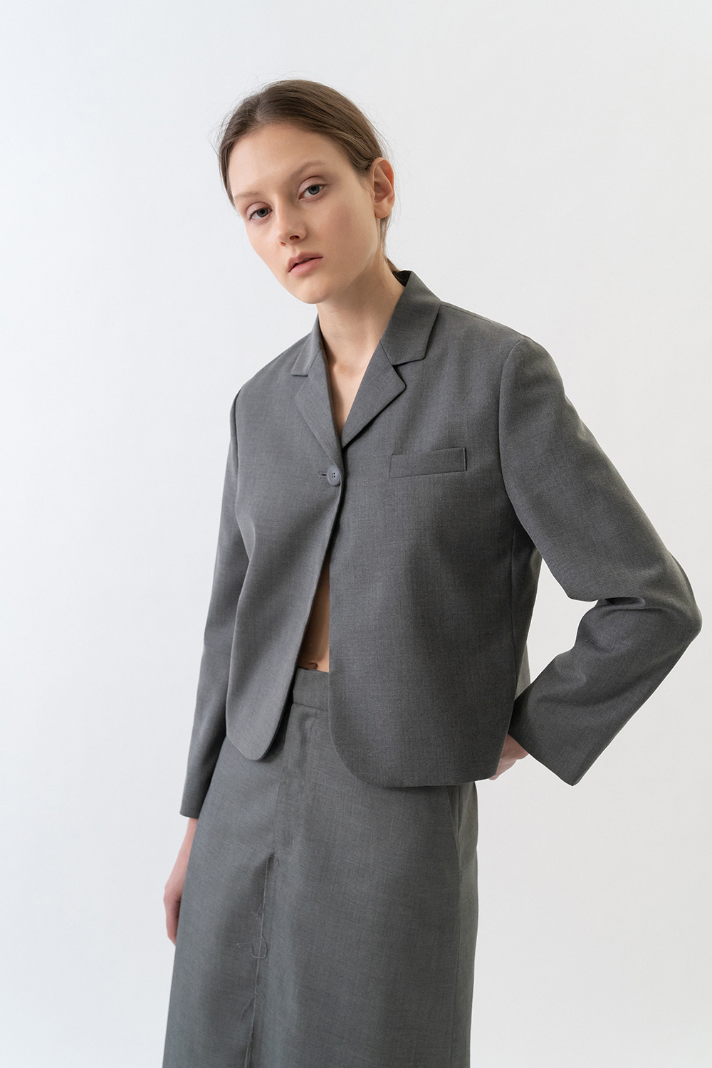 Damage Cropped Jacket Women [Gray]