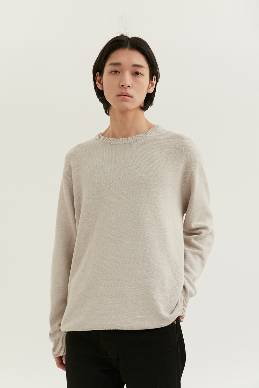 Cotton Round Knit Men [Beige]