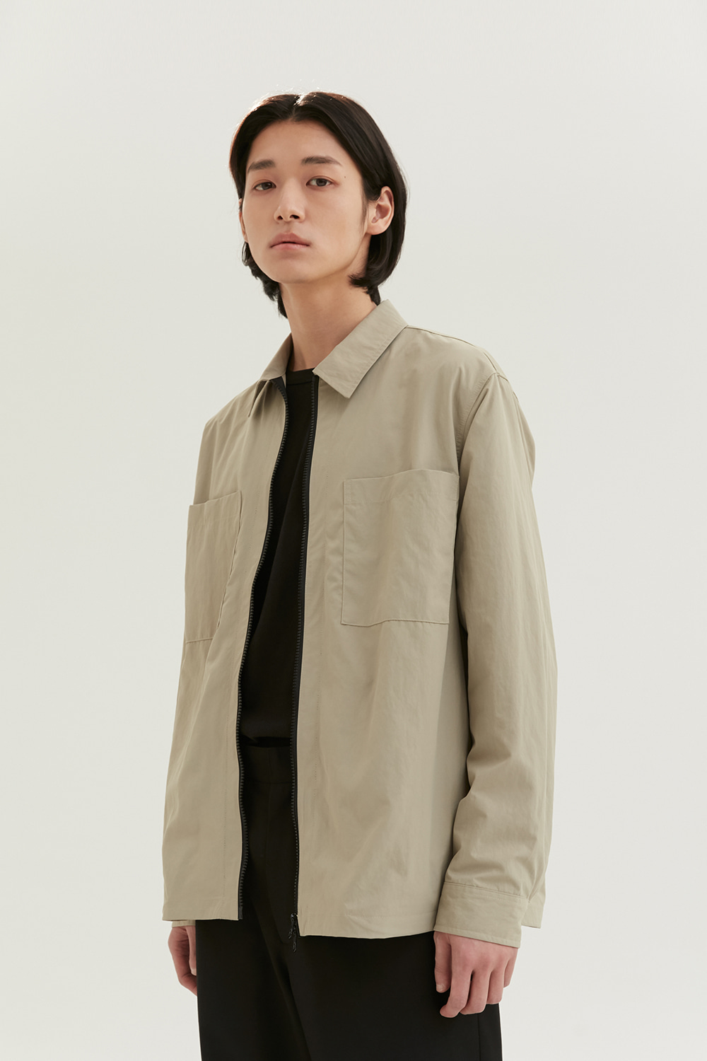 Zip Up Shirts Men [Dark Beige]
