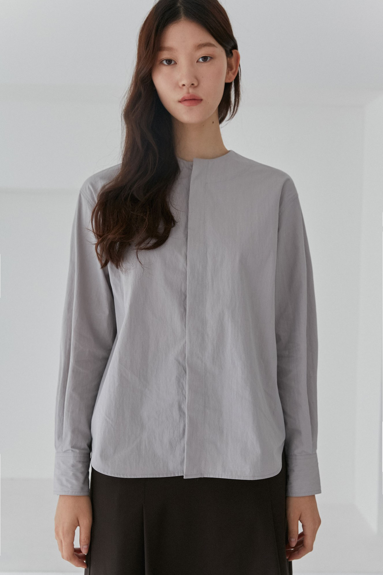 Round Blouse Women [Gray]