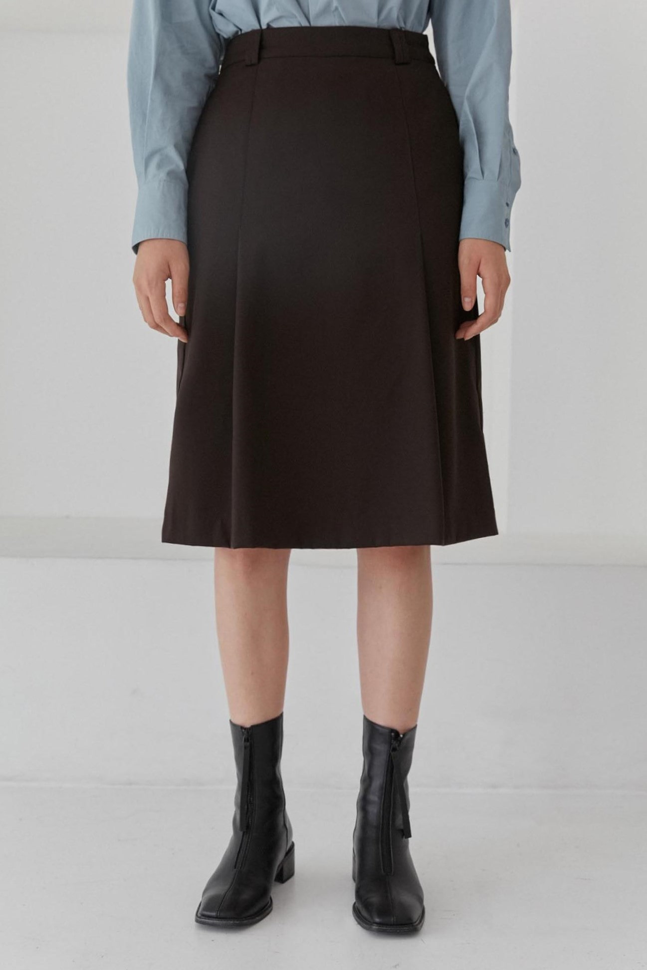 Tuck Midi Skirts Women [Brown]
