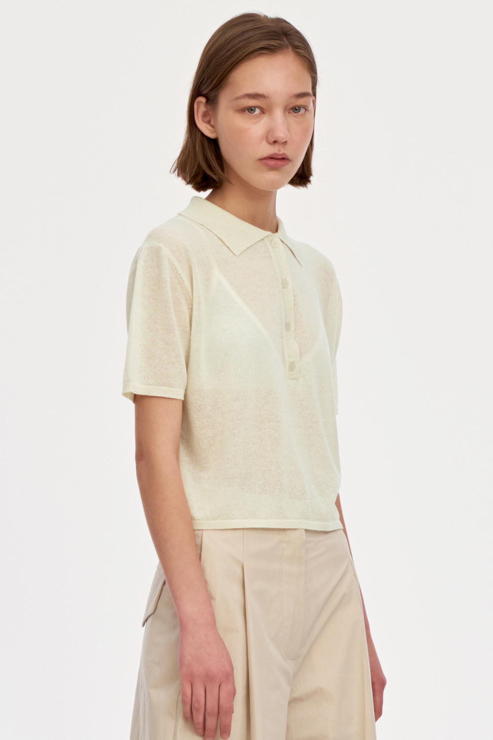 Half Placket Summer Knit Women [Cream]