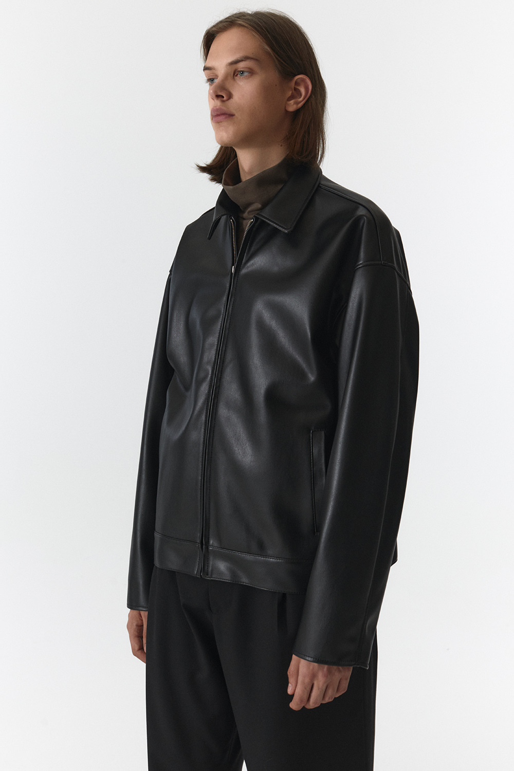 Oversize Leather Jacket Men [Black]