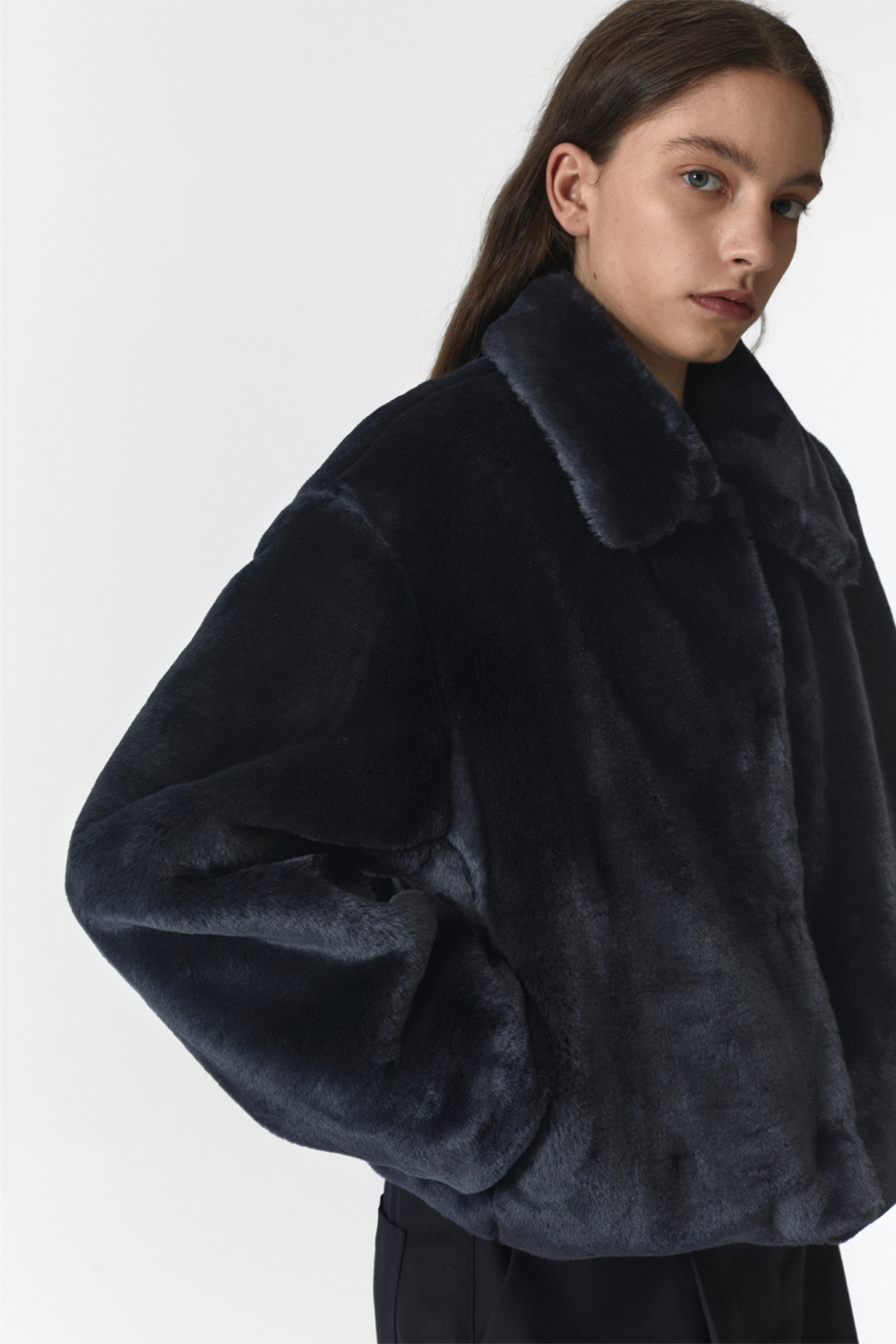 Fur Crop Jacket Women JA [Deep Navy]