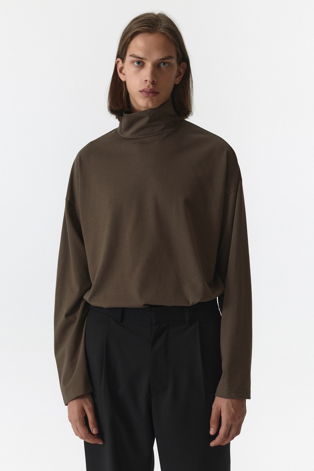 Turtle Neck Long Sleeves Men JA [Brown]